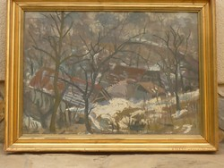 Eladó Uhrig Zsigmond: Háztetők című Képcsarnokos olajfarost festménye