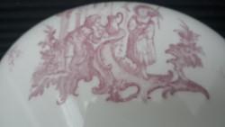 Antik zsánerjelenetes porcelán leveses tál