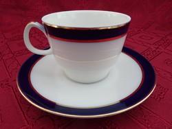 EPIAG D.F. cseh porcelán teáscsésze + alátét. Kobaltkék/arany szegéllyel.