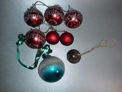 Üveg karácsonyfa dísz egyveleg réz csengettyűvel