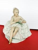 Gyönyörű Wallendorf porcelán balerina tükörrel.