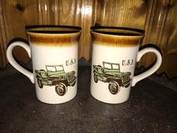 2 db egyforma USA old timer autós csésze angol porcelán