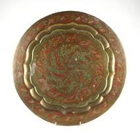 1A581 Indiai festett díszítésű réz tál tálca 39 cm
