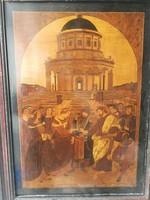 Intarzia kép mestermunka!! Figurális jelenet antik kórból! Italia, egyházi. Szentekkel! Mitólógia.