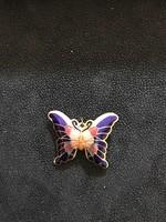 Ragyogó szines tûzzománc pillangó  díszítés, aranyozott fém alapú kitûzô vagy medál