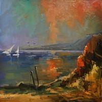 T.Varga : Sziklás part, olajfestmény