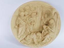 Nagyon ritka első kiadású olasz alabástrom falitányér Jézus születése
