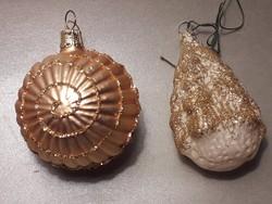 Üveg karácsonyfa dísz fenyő és gömb arany csillámos