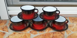 5 db retro zománcos csésze szett, kávéscsészék, kávéscsésze, nosztalgia, csészék, Gyűjtemény