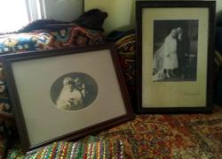 Antik esküvői fotók keretben,párban