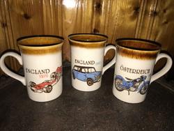3 db retro old timer autós motoros csésze angol porcelán