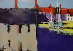 T.Varga : Kikötő, olajfestmény
