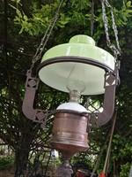 Petróleum lámpa, csillár, lüszter, Szecessziós, Art deco szép állapotban, petrólummal is, zöld búra!