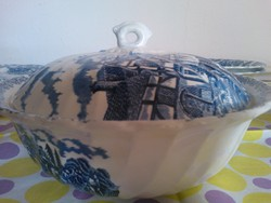 Angol porcelánok, postakocsi mintával,kék szinben.