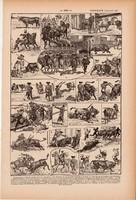 Bikaviadal, nyomat 1923, francia, 19 x 29 cm, lexikon, eredeti, bika, torreádor, pika, spanyol