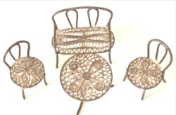 Ezüst régi baba garnitúra miniatűr filigrán