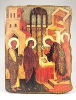 1A386 Antik ikon másolat fatáblán ( Mária a kis Jézussal tisztelet adás Három Királyok )