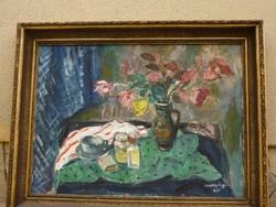 Eladó Szentgyörgyi Kornél: Virágcsendélet című olajvászon festménye