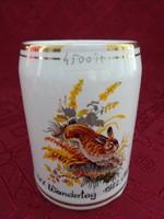 Gránit porcelán sörös korsó, nyuszi mintás, IVV Wandertag 1982 Neupőlla felirattal.