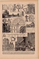 Csillagászat, nyomat 1923, francia, 19 x 29 cm, lexikon, eredeti, távcső, csillag, asztronómia