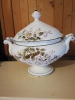 Antik leveses tál, koma tál vastag porcelán. Virágmintás, vadrózsa, mesés!