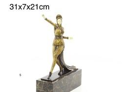 Kaukázusi art deco tàncos nő bronz szobor