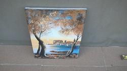 Szépen megfestett kisméretű festmény, vásznon