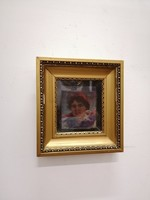 """Pállya Celesztin (1864-1948) olaj,fa festmény. """" Női fej"""""""