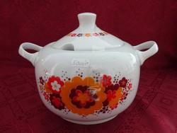 Alföldi porcelán piros/sárga/barna mintás leveses tál.