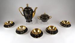 1A640 Régi aranyozott fekete porcelán Schlaggenwald kávéskészlet