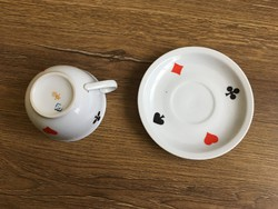 Zsolnay kártya mintás teás csésze+alj