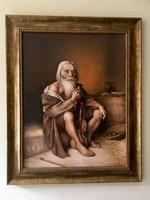 """Krasznai Barbara portréfestőnő """"Öreg cigány zenész"""" című olajfestménye"""