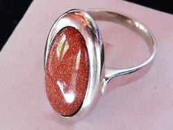 Ezüst gyűrű nap kővel