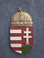 Nagy méretű festett magyar címer. Öntvény.