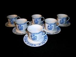 Jelzett német Royal porcelán hagyma mintás kávés készlet 6 db csésze kistányérral