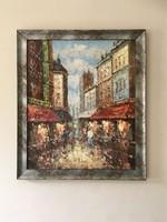 Párizs és Velence spaklis festmények ezüst keretben 50x60 cm párban eladók
