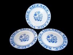 3 db jelzett német Royal porcelán hagyma mintás lapos tányér 23 cm átmérő