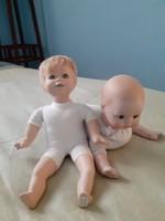 2 db porcelán vagy kerámia fejű (kezű, lábú)  baba
