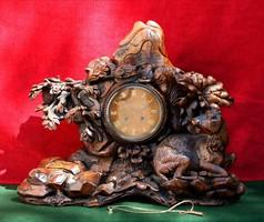 Antik kandalló óra fából