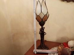 Bronz szobor lámpa Múránói üveggel 56x18