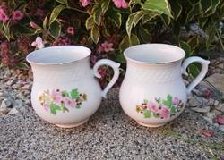 2  db Hollóházi virágos hasas bögre, pocakos bögrék, bögre csomag, nosztalgia darabok
