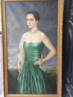 Zilahy Pogány Lajos  : Zöld ruhás hölgy zafír gyűrűvel