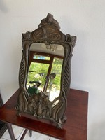 Különleges antik szecessziós öntött vas tükör