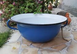 Nagyméretű kék Bonyhádi vájling, nosztalgia darab, paraszti dekoráció, masszív, nehéz szépség