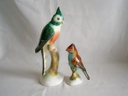 2 db Bodrogkeresztúri nagyon szép kerámia papagáj, madár 24 és 14 cm