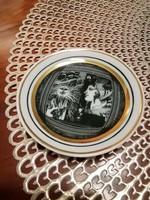 Hollóházi Szász Endre mini porcelán tányér
