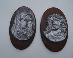 Antik, Jézus és Mária fej szobor falidísz