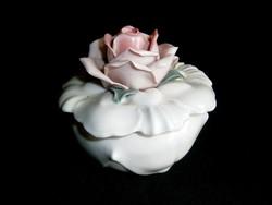 Nagyon szép különleges Ens porcelán bonbonier rózsa fogóval