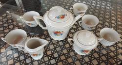 Régi zsolnay pipacsmintás vadvirágos teás készlet