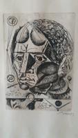 Hincz Gyula - férfi portré, rézkarc, üvegezett eredeti keretében, szignózott